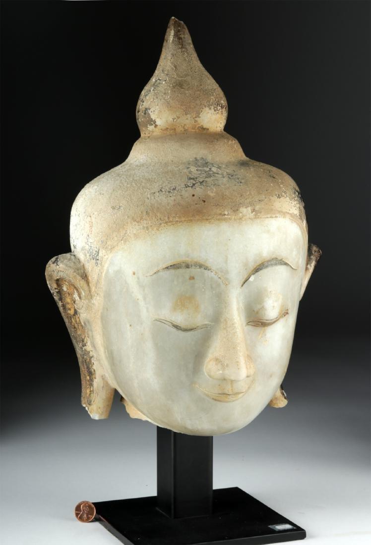 Large 19th C. Burmese Alabaster Head of Buddha - 3