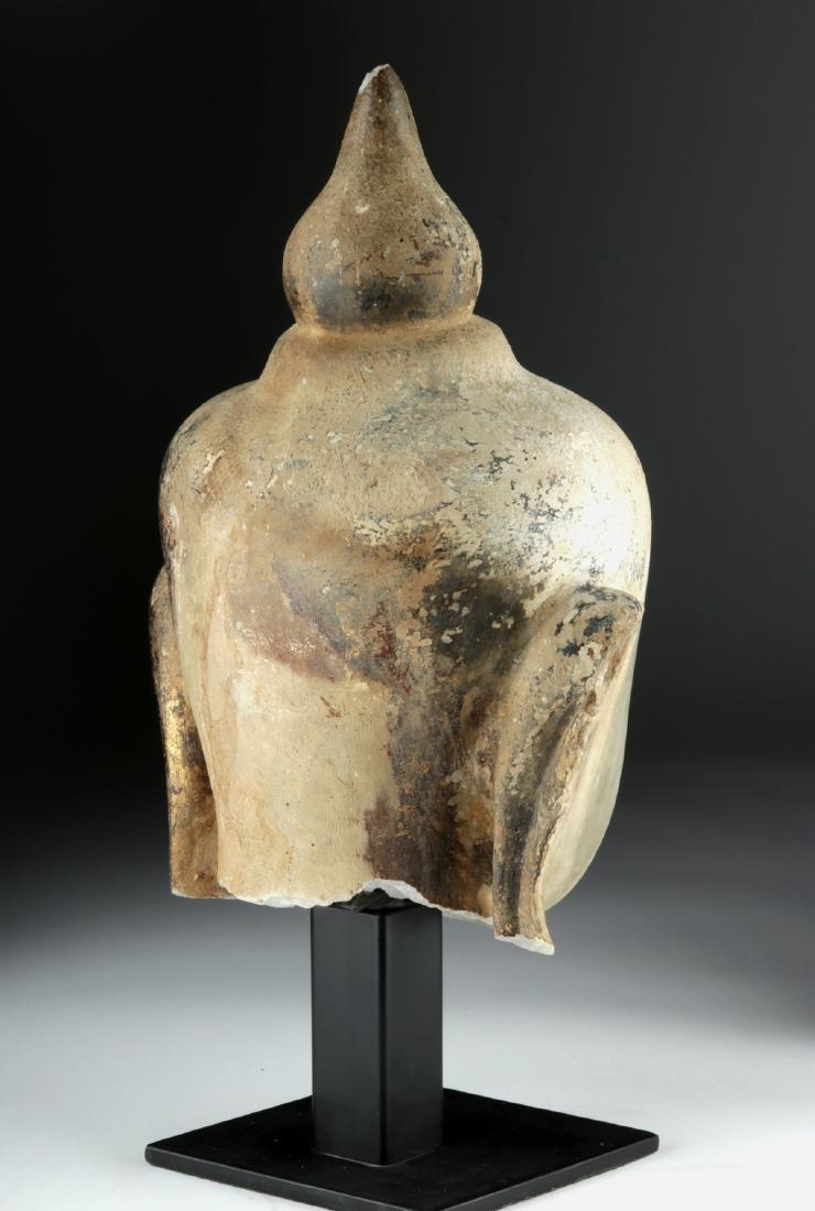 Large 19th C. Burmese Alabaster Head of Buddha - 4