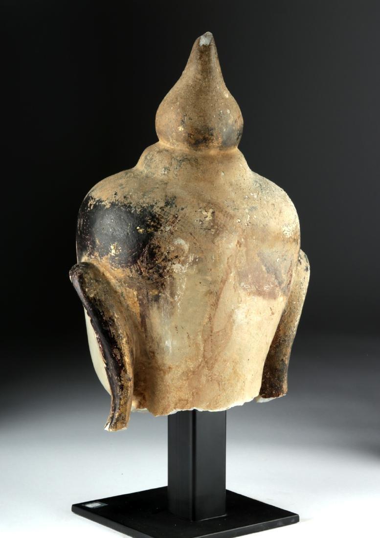 Large 19th C. Burmese Alabaster Head of Buddha - 5