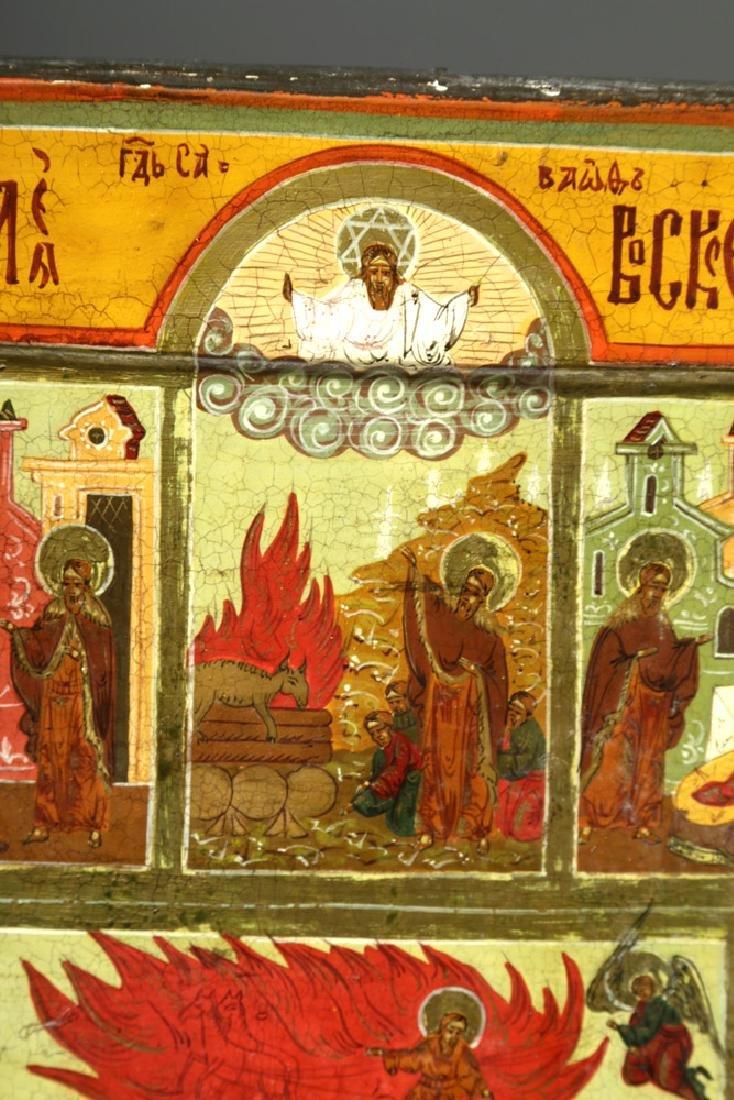 19th C. Russian Icon - Fiery Ascent of Prophet Elijah - 4