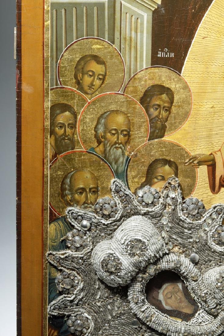 Exhibited 19th C. Russian Icon, Dormition of the Virgin - 8