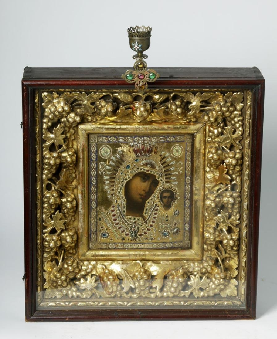 Exhibited 19th C. Russian Icon / Kiot, Theotokos Kazan