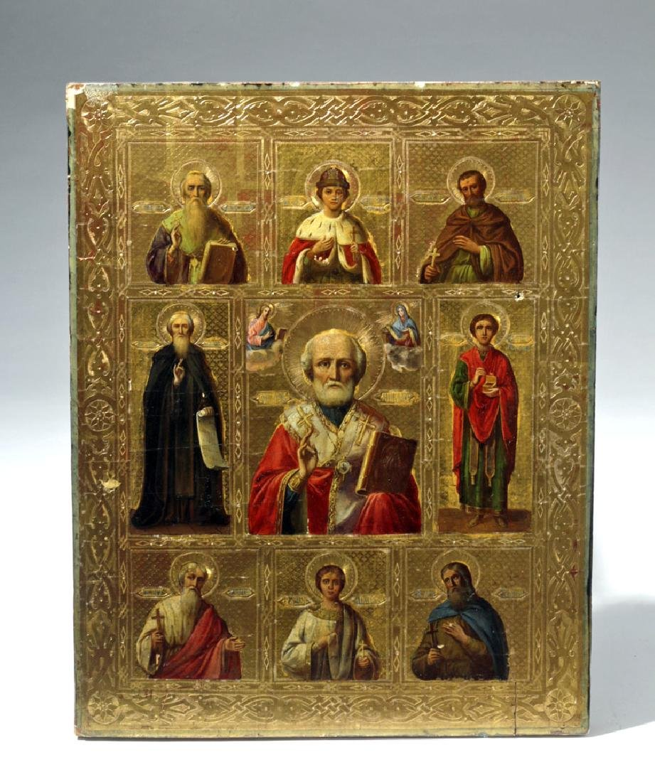 Exhibited 19th C. Russian Icon - St. Nicholas w/ Saints