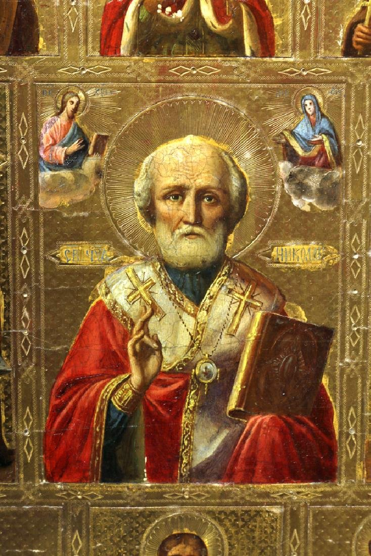 Exhibited 19th C. Russian Icon - St. Nicholas w/ Saints - 3