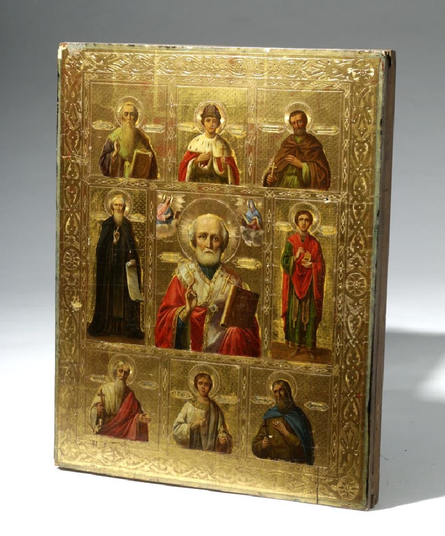 Exhibited 19th C. Russian Icon - St. Nicholas w/ Saints - 7