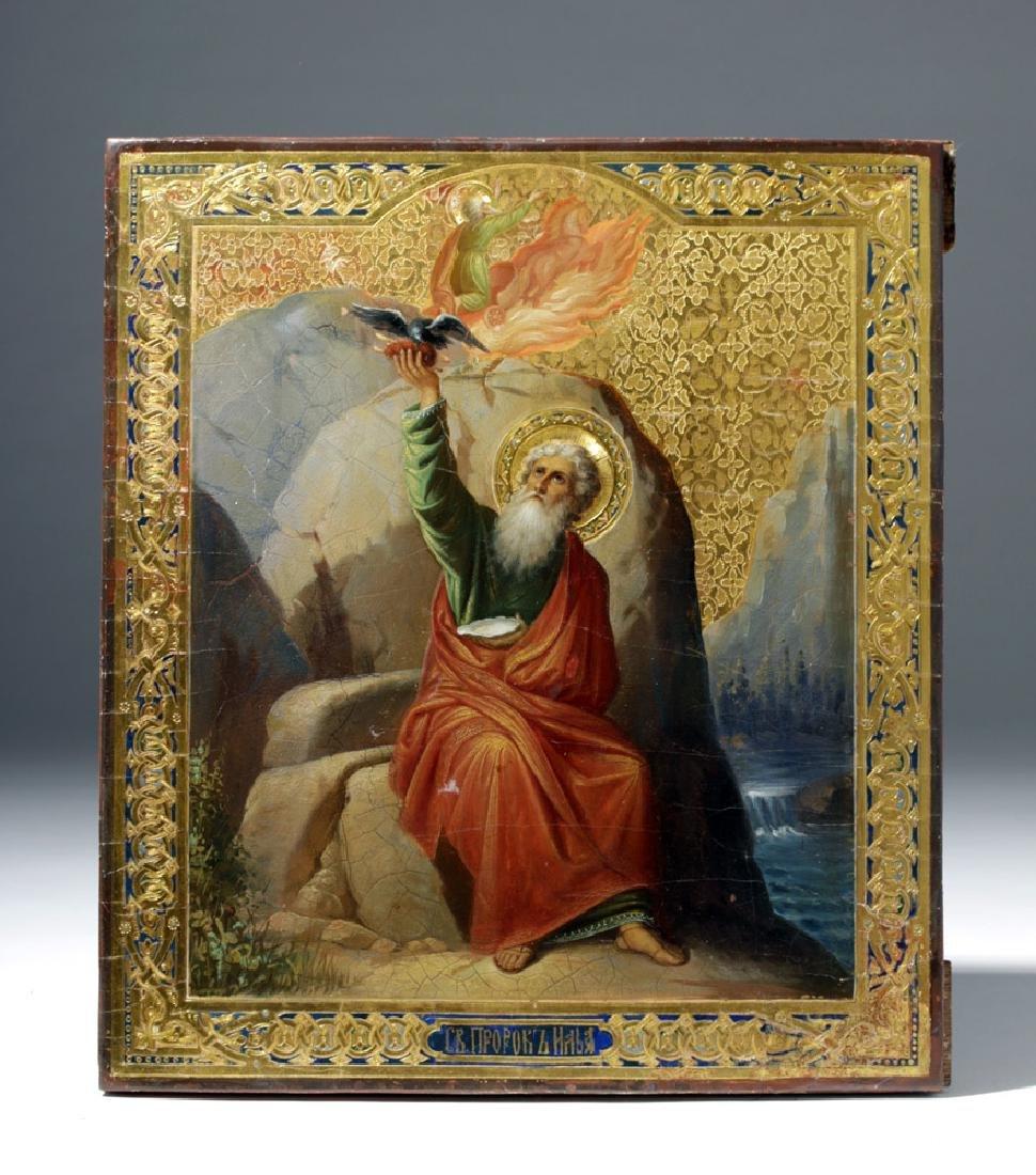 19th C. Russian Icon - Fiery Ascension Prophet Elijah