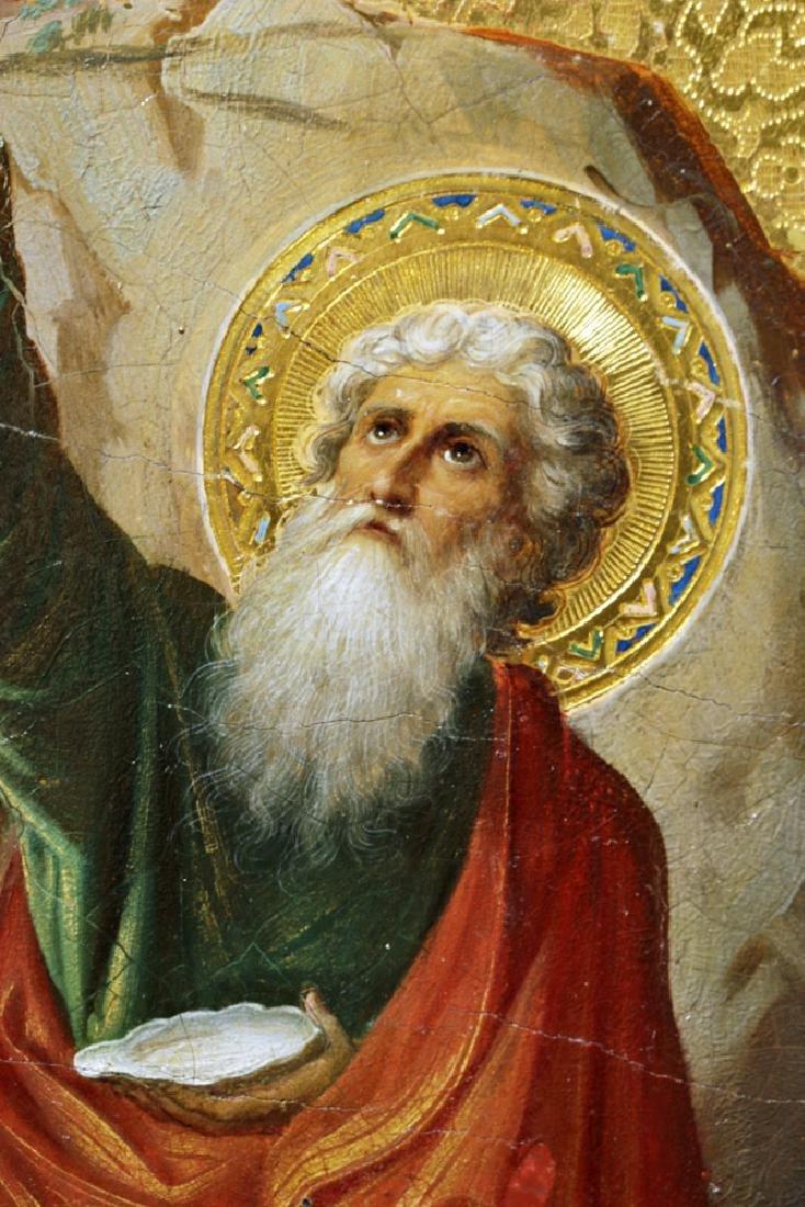 19th C. Russian Icon - Fiery Ascension Prophet Elijah - 3