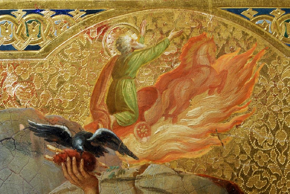 19th C. Russian Icon - Fiery Ascension Prophet Elijah - 4