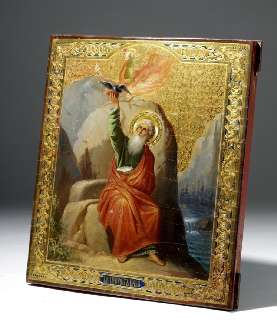 19th C. Russian Icon - Fiery Ascension Prophet Elijah - 6