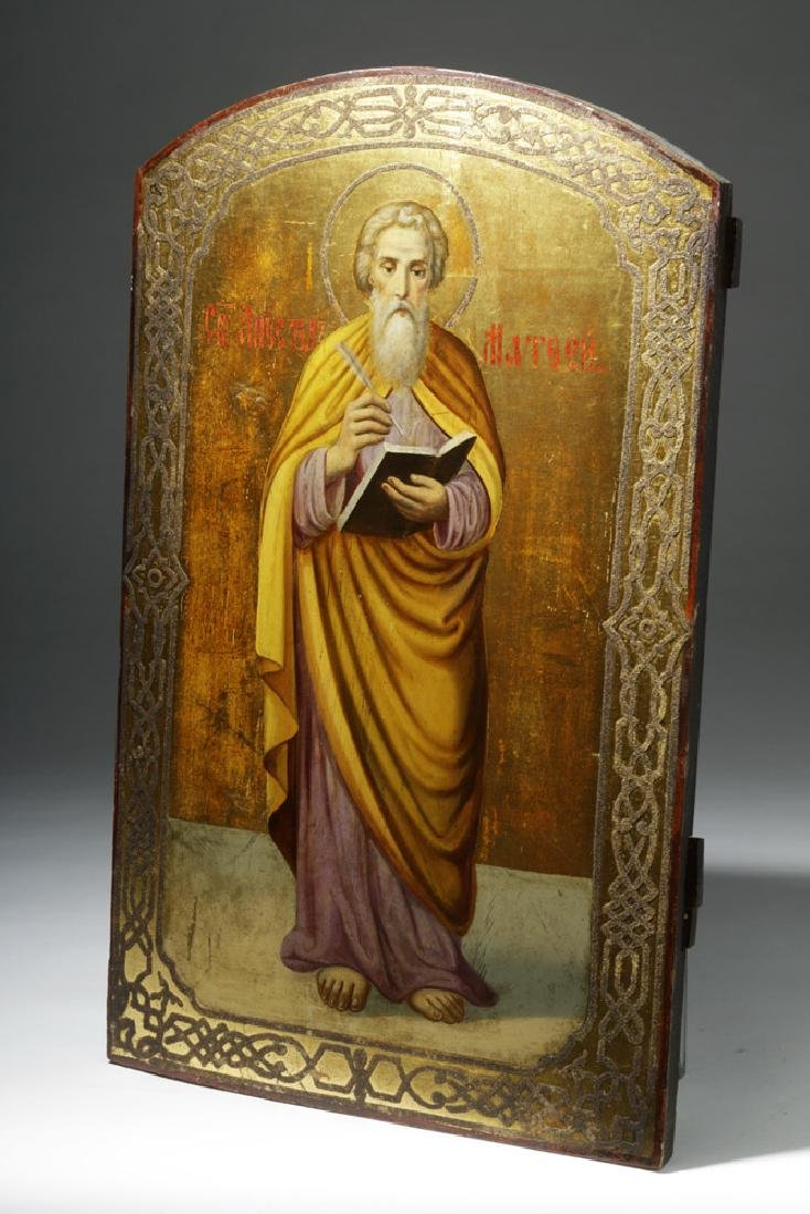 Exhibited 19th C. Russian Icon - Standing St. Matthew - 4