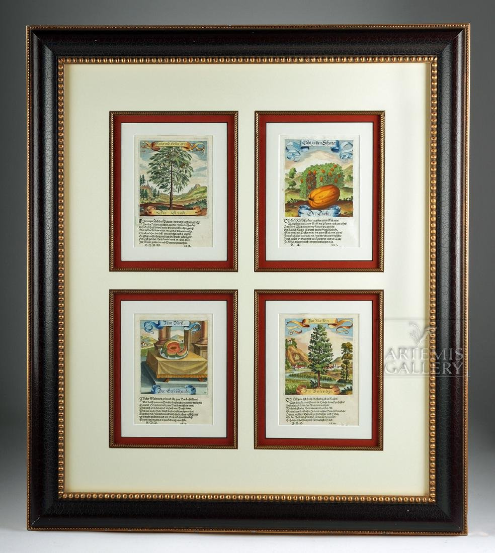 17th C. German Hand-Colored Copper Plate Engravings