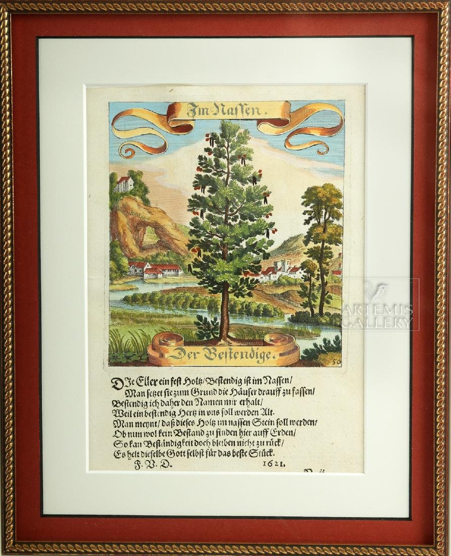 17th C. German Hand-Colored Copper Plate Engravings - 4