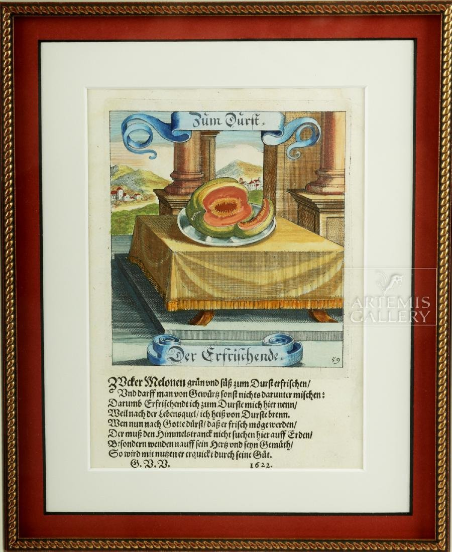 17th C. German Hand-Colored Copper Plate Engravings - 5