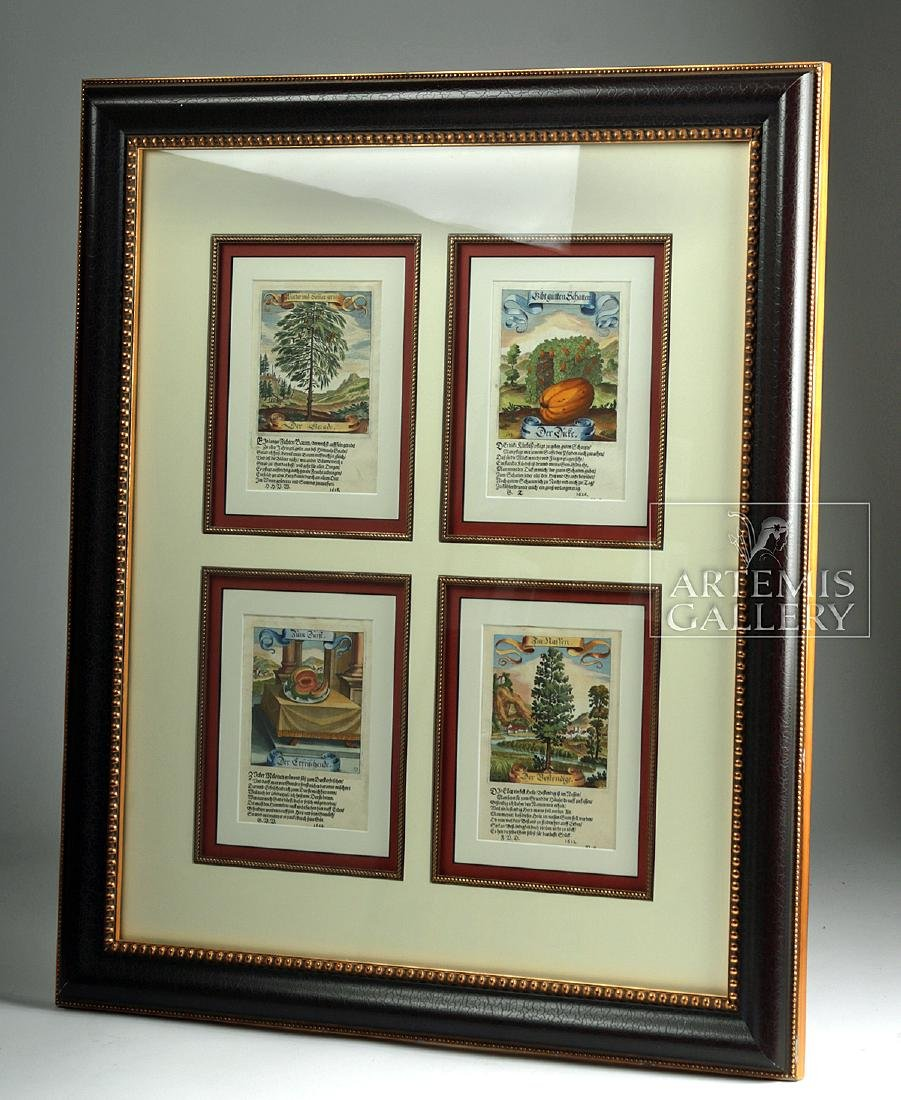 17th C. German Hand-Colored Copper Plate Engravings - 6