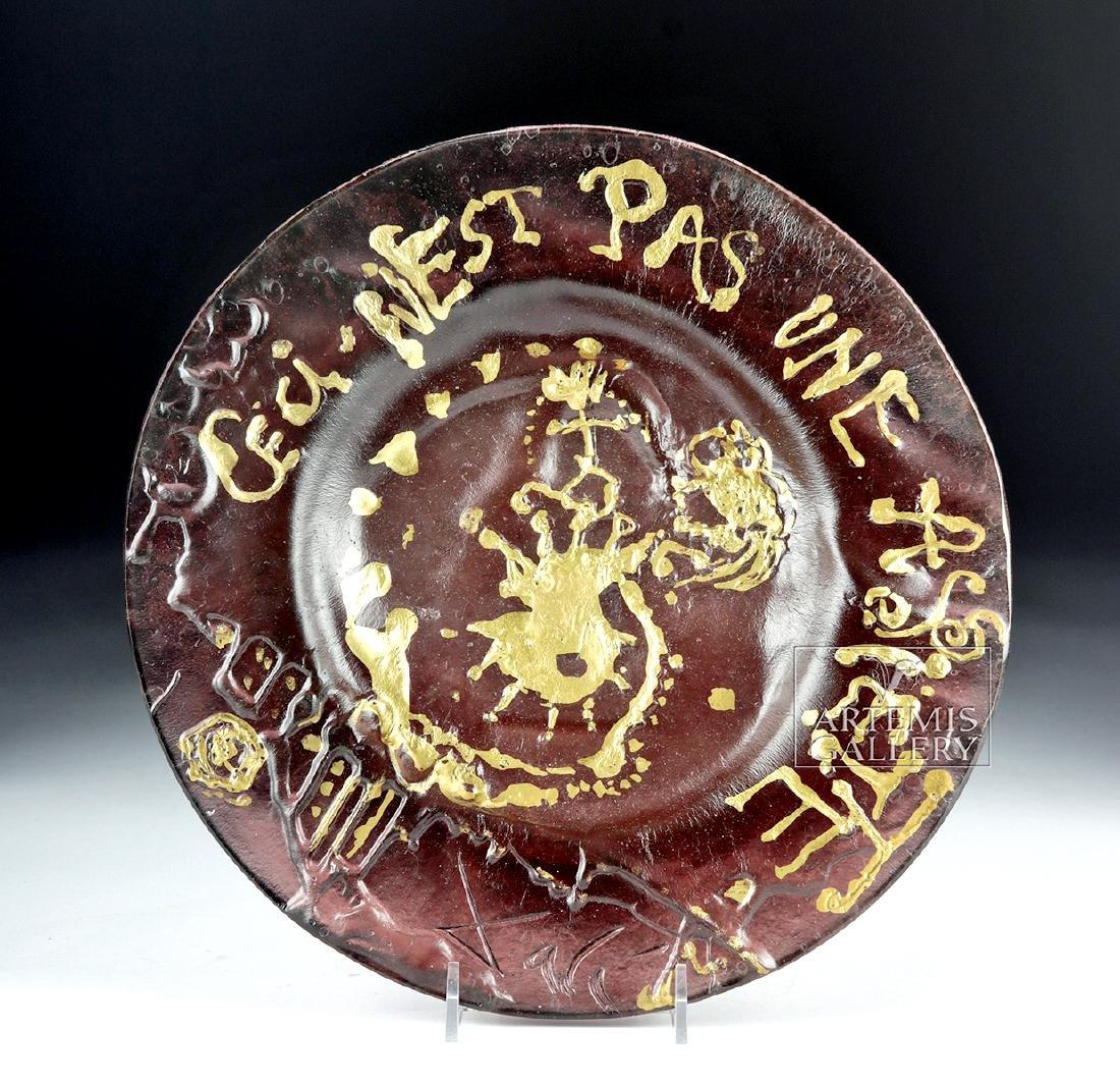 Dali Daum Glass Plate Ceci N'est Pas Une Assiette 1970s