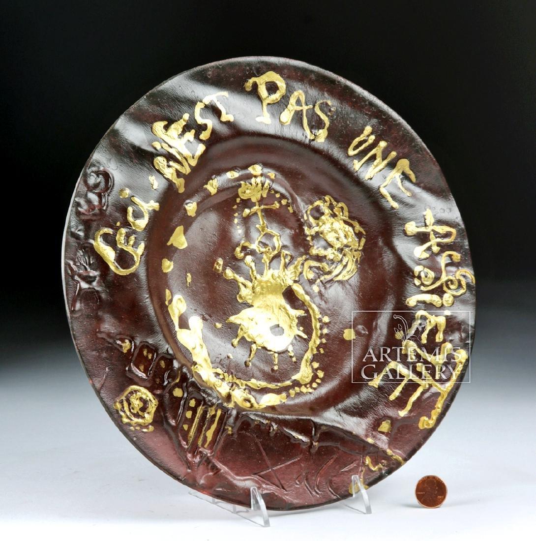 Dali Daum Glass Plate Ceci N'est Pas Une Assiette 1970s - 3