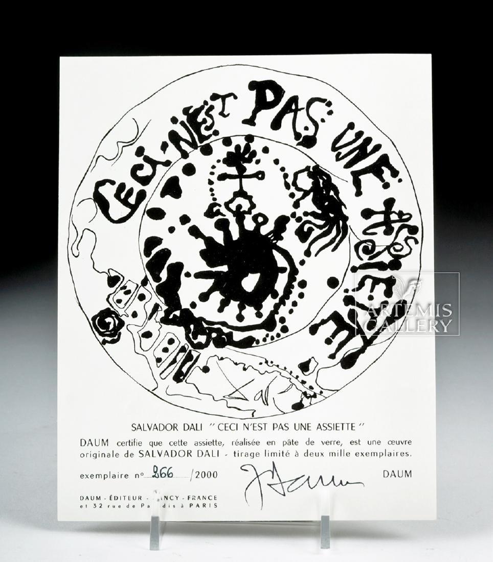 Dali Daum Glass Plate Ceci N'est Pas Une Assiette 1970s - 6