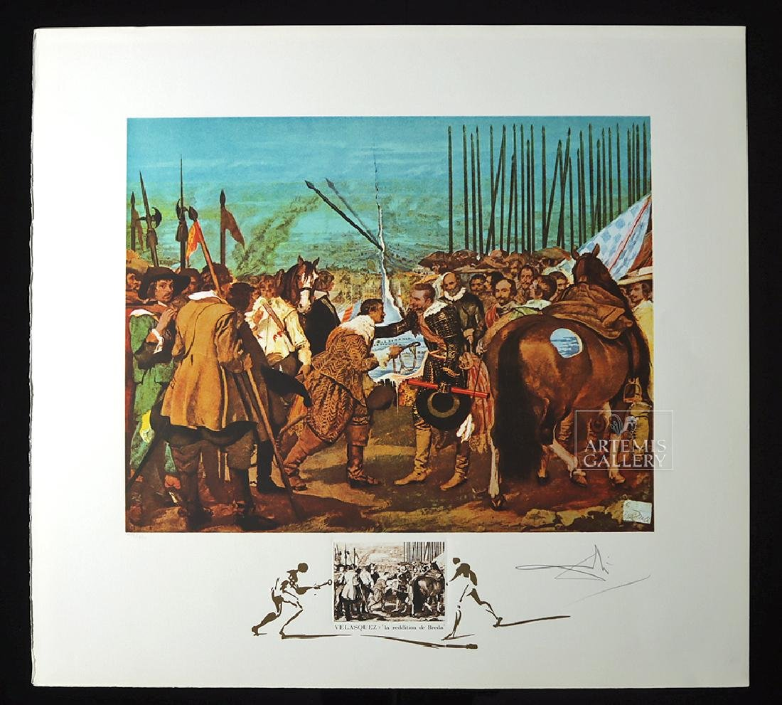 "Signed Dali ""Velasquez La Reddition de Breda"" - 1974"