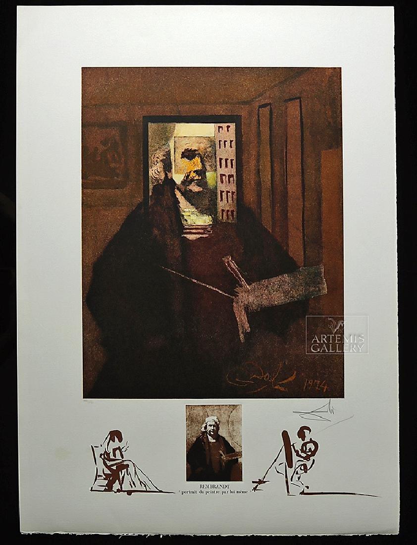 "Signed Dali Lithograph ""Rembrandt Portrait..."" 1974"