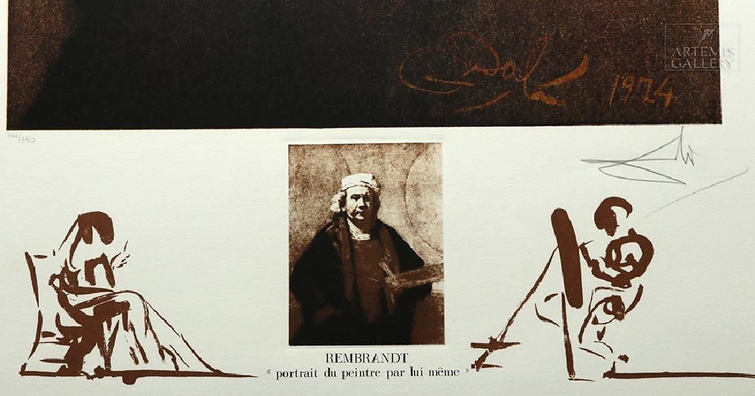 "Signed Dali Lithograph ""Rembrandt Portrait..."" 1974 - 3"