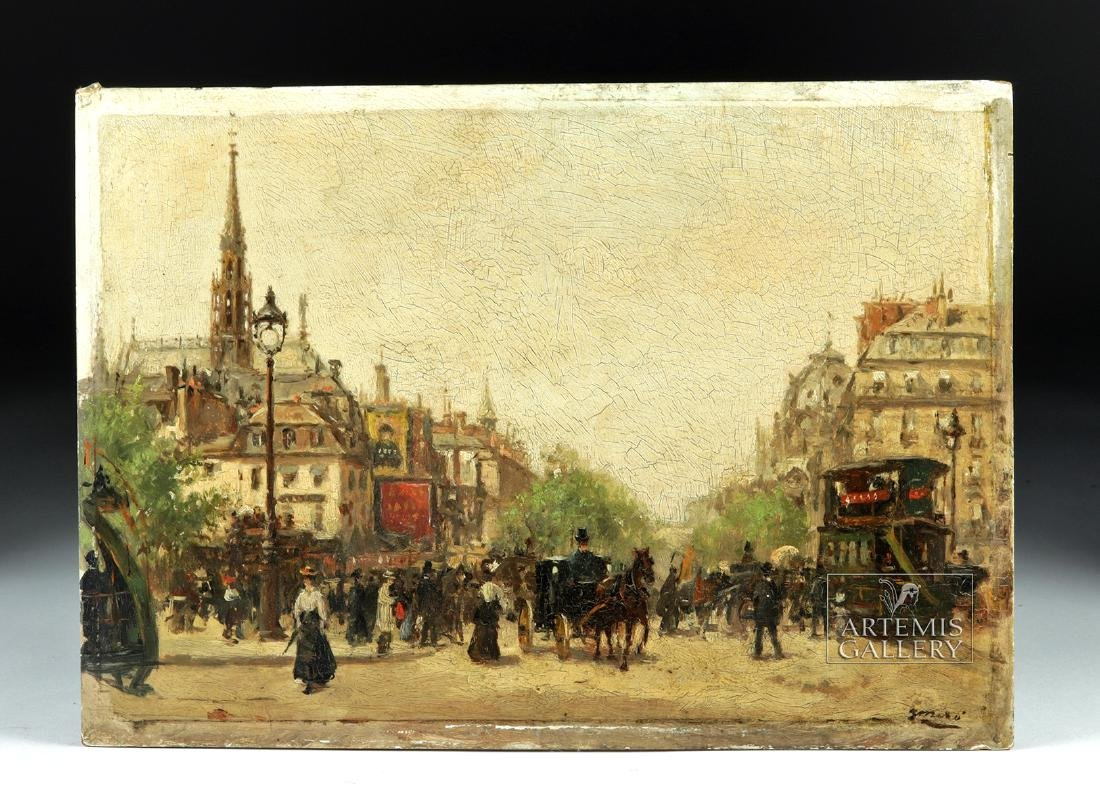 19th C. Joaquim Miro Argenter Painting - Parisian Scene