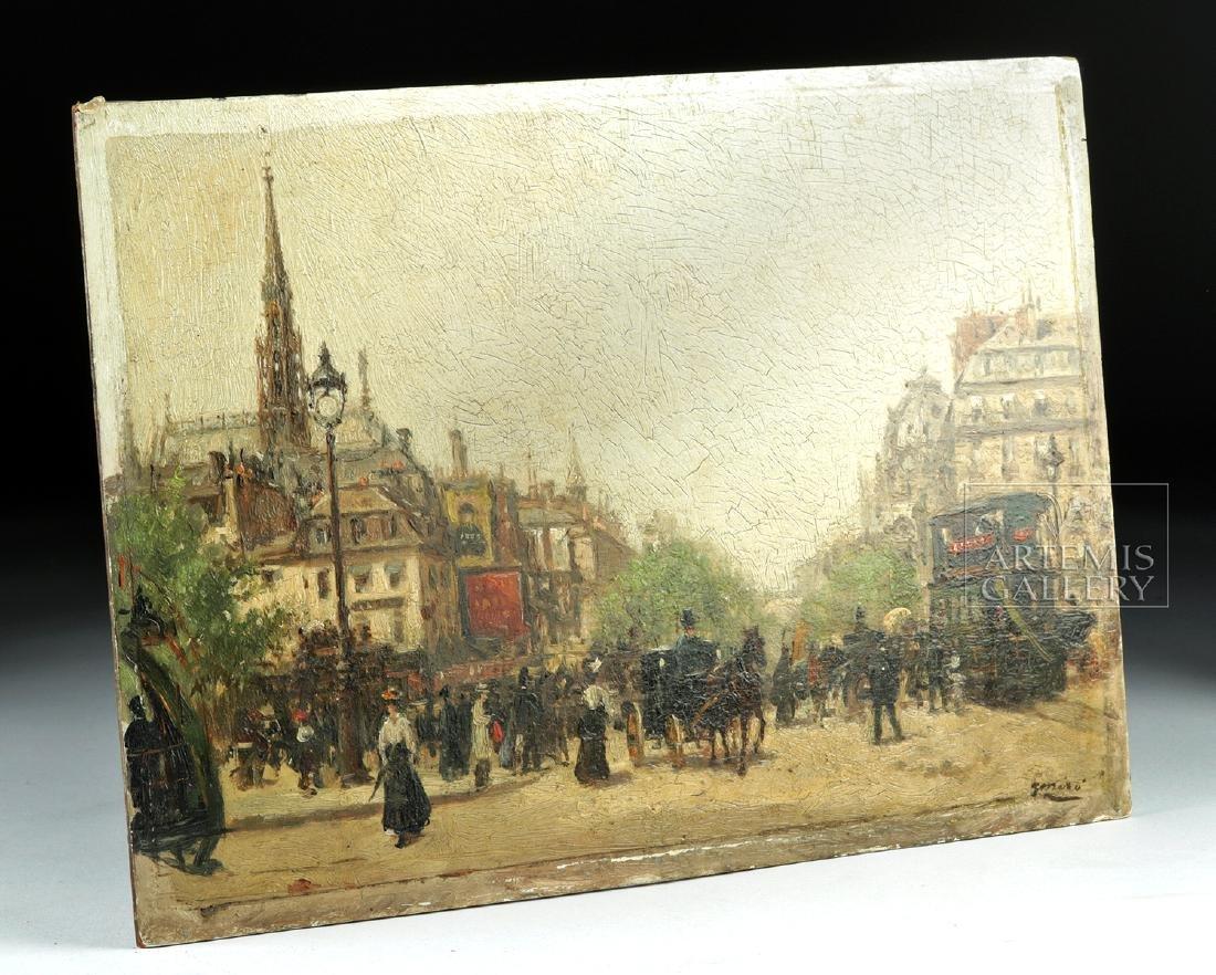 19th C. Joaquim Miro Argenter Painting - Parisian Scene - 2