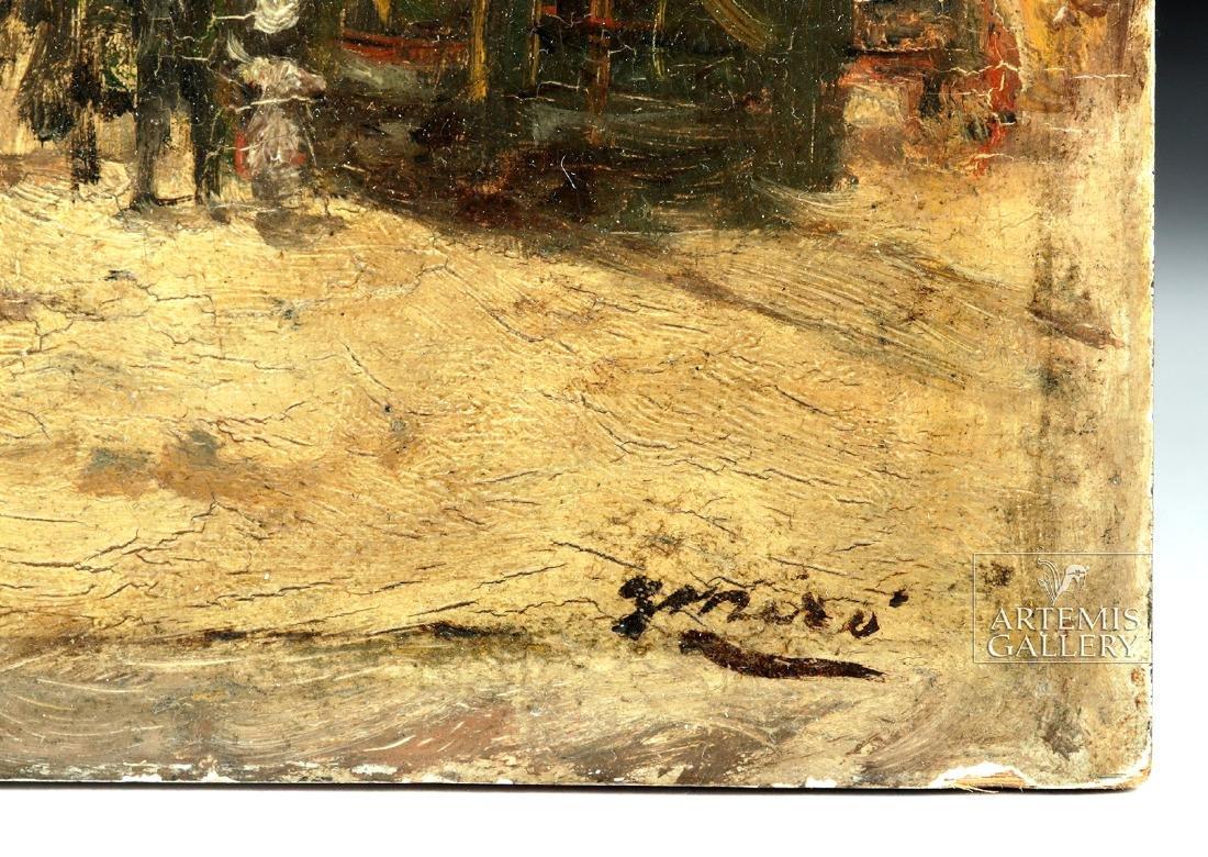 19th C. Joaquim Miro Argenter Painting - Parisian Scene - 4