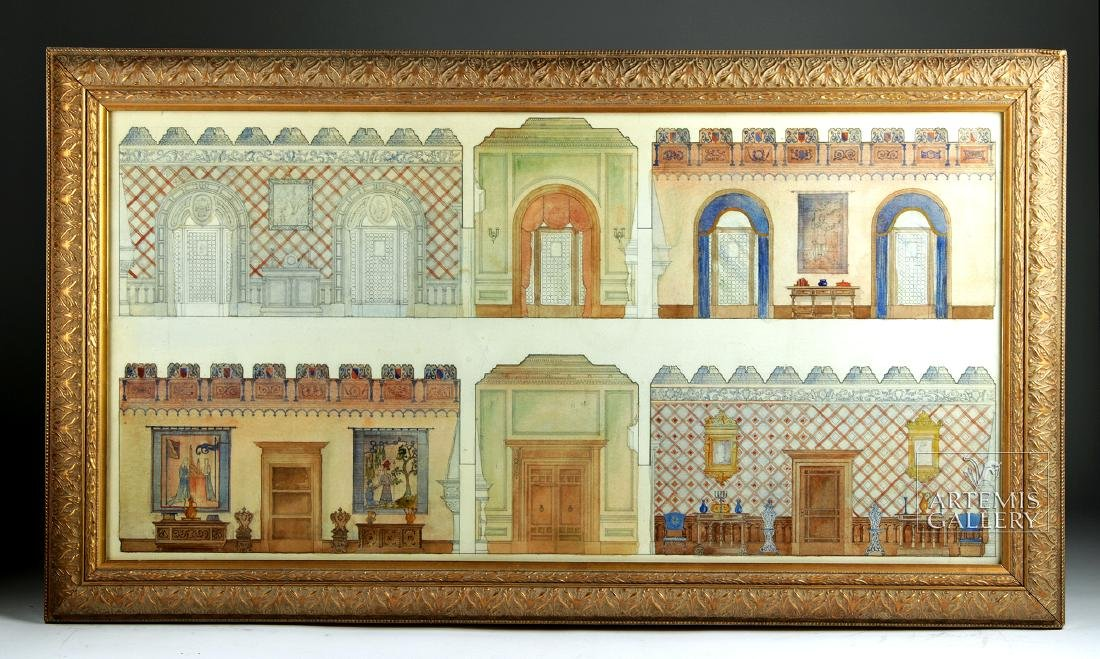 American Watercolor - Arts & Crafts Interior - 1920