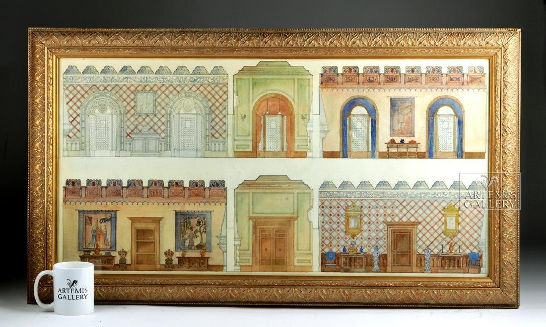 American Watercolor - Arts & Crafts Interior - 1920 - 5