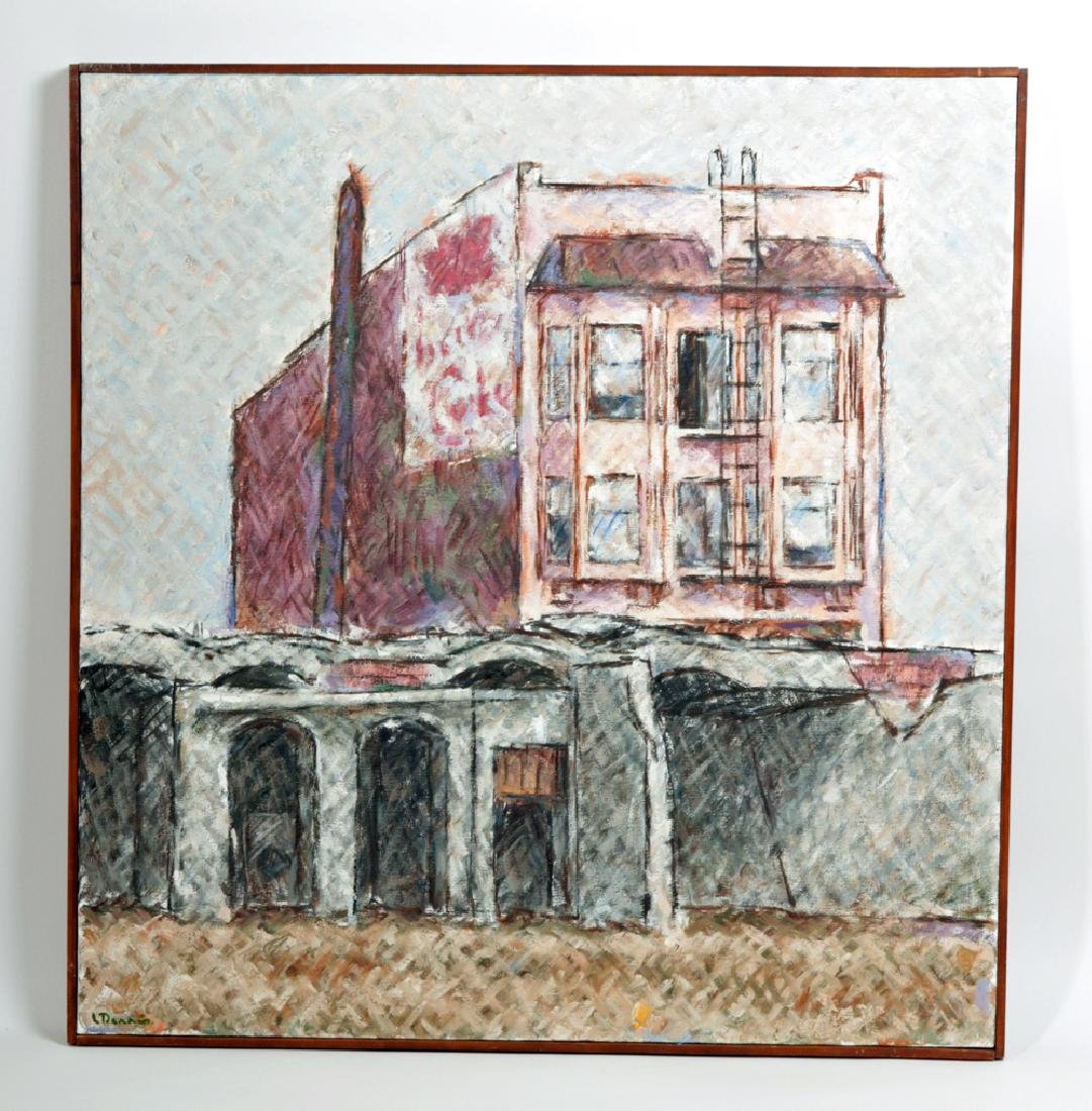 """L. Dennis Painting """"Small Hotel Above Demolition"""" 1977"""