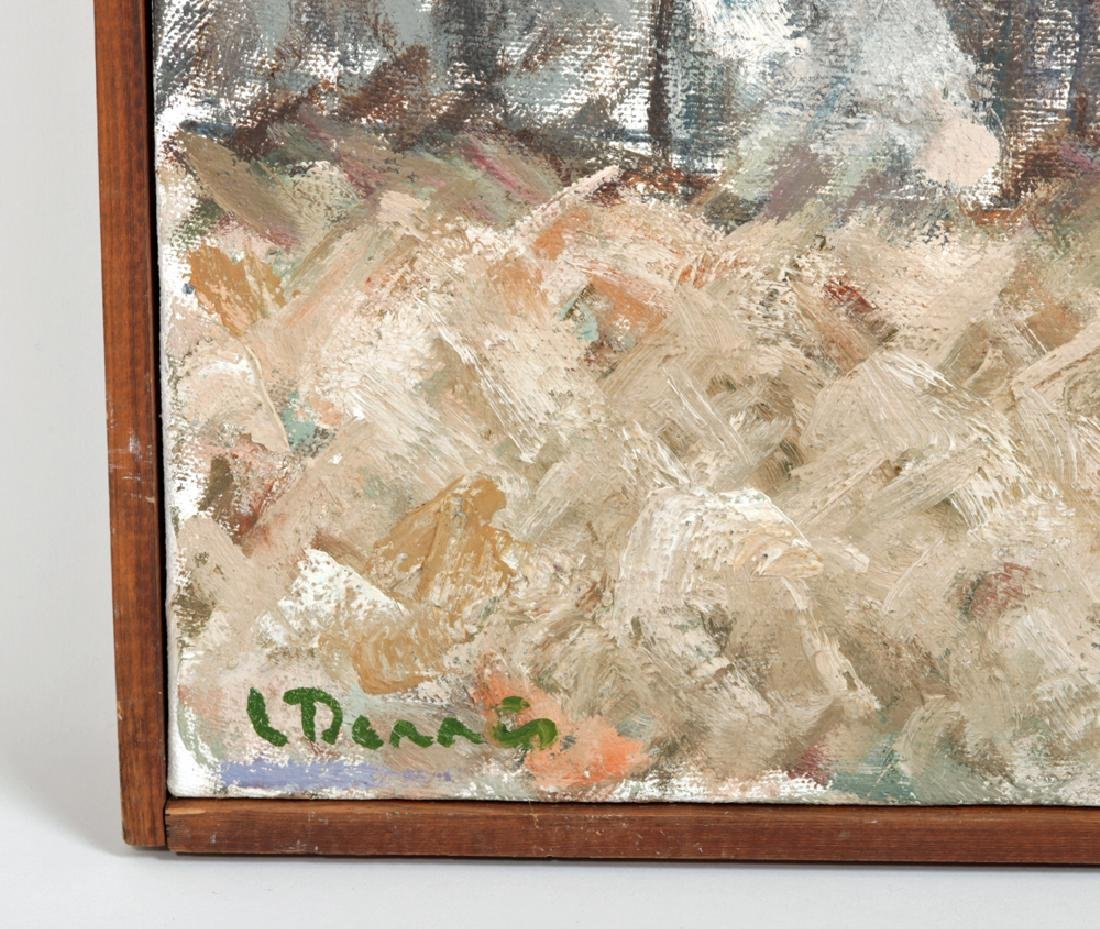 """L. Dennis Painting """"Small Hotel Above Demolition"""" 1977 - 2"""