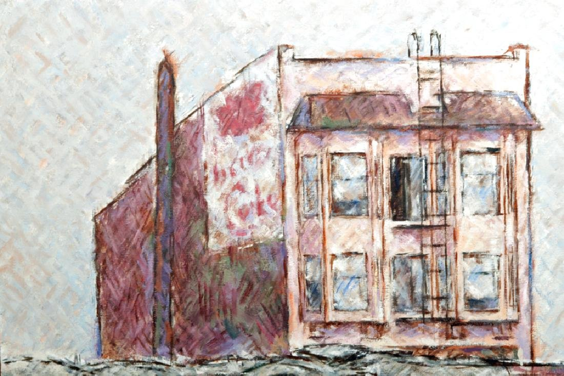 """L. Dennis Painting """"Small Hotel Above Demolition"""" 1977 - 3"""