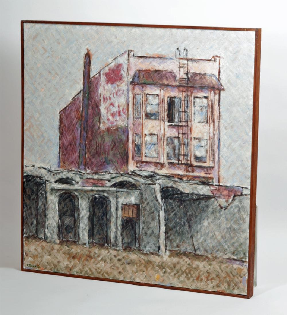 """L. Dennis Painting """"Small Hotel Above Demolition"""" 1977 - 4"""