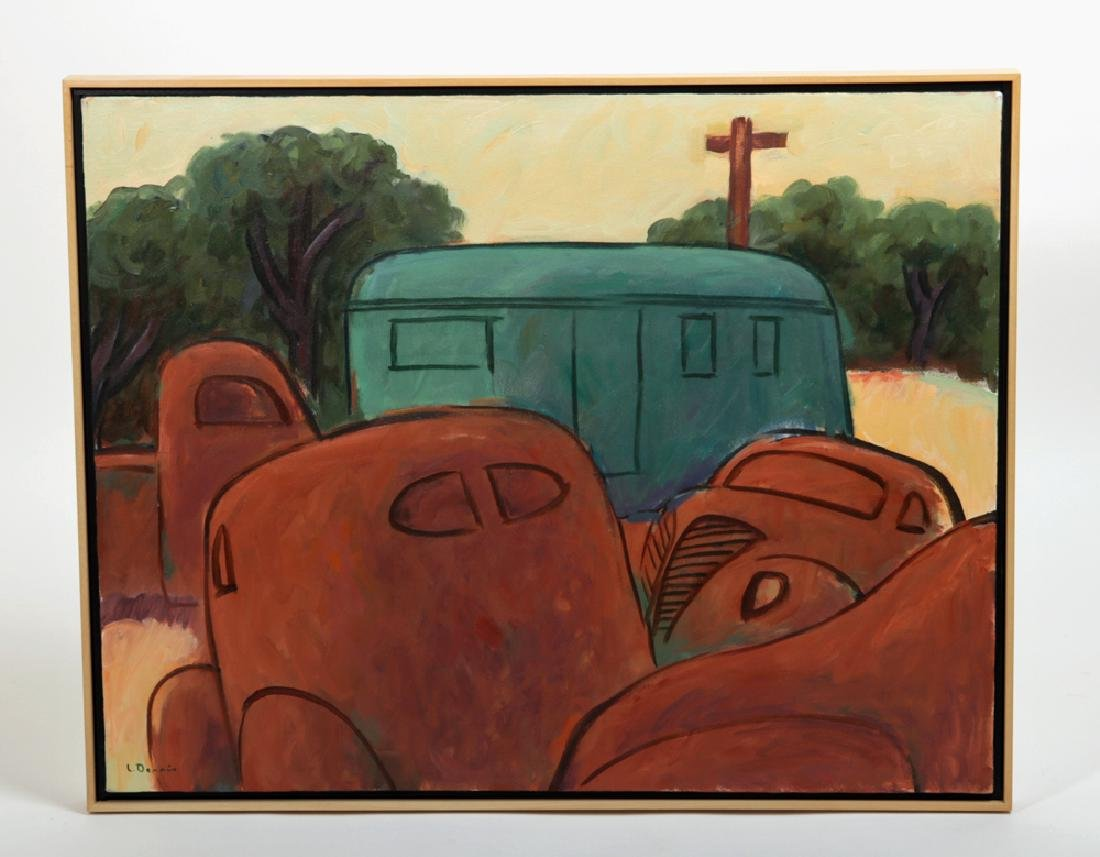 """L. Dennis Painting - """"Rusting Cars, House Trailer"""" 1993"""
