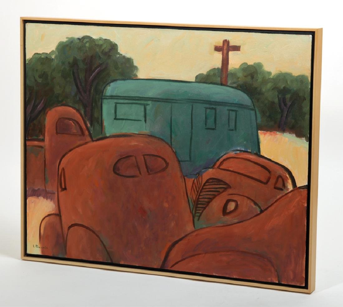 "L. Dennis Painting - ""Rusting Cars, House Trailer"" 1993 - 3"