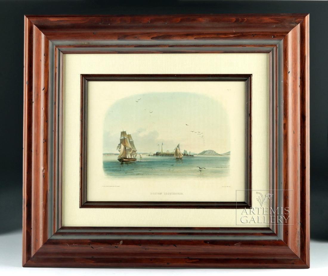 Karl Bodmer Aquatint Engraving Boston Lighthouse c 1840