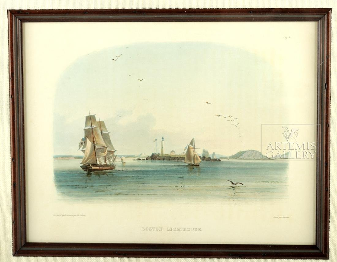Karl Bodmer Aquatint Engraving Boston Lighthouse c 1840 - 2