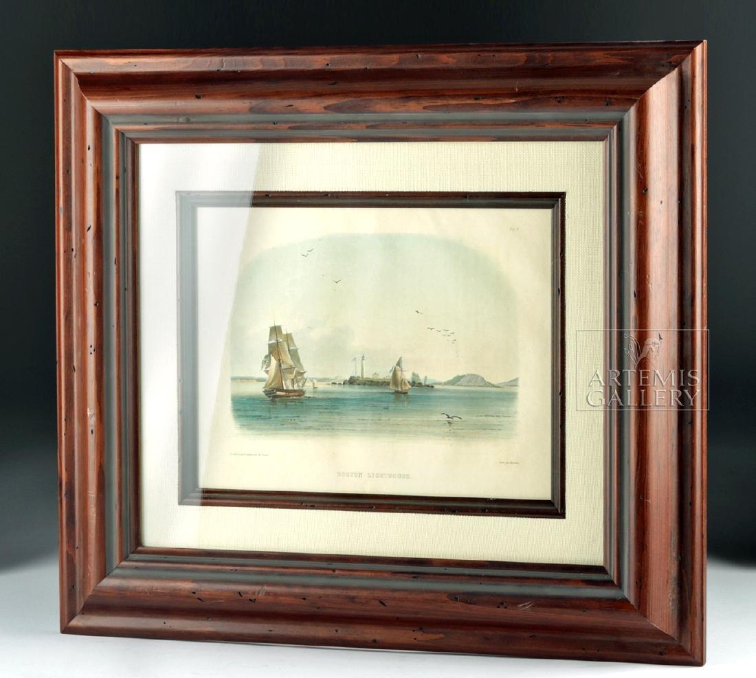 Karl Bodmer Aquatint Engraving Boston Lighthouse c 1840 - 5