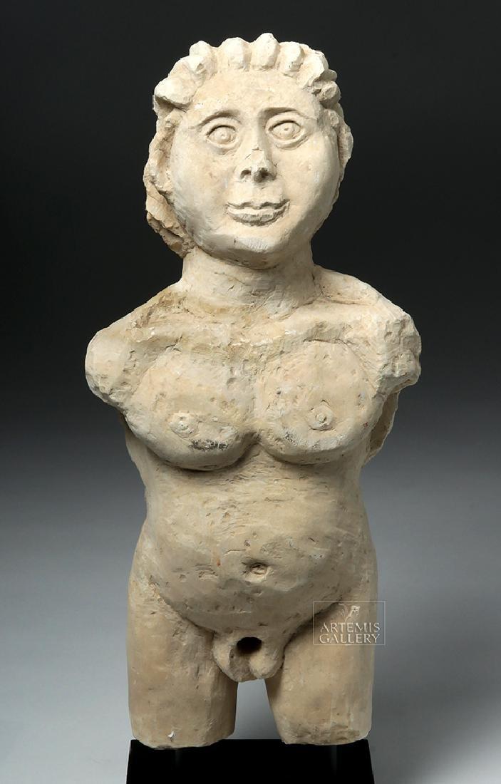 Large Palmyran Limestone Standing Nude Hermaphrodite