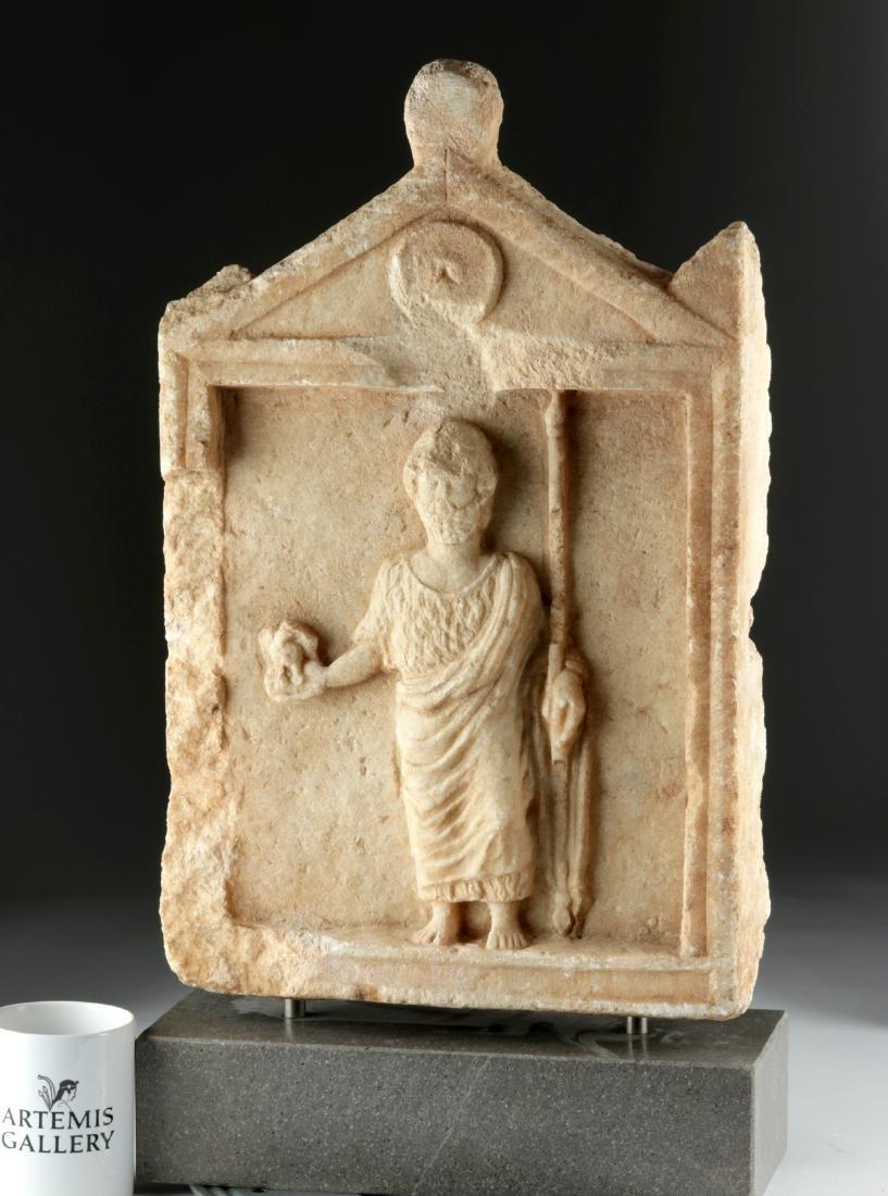 Roman Marble Funerary Stele - Temple w/ Male