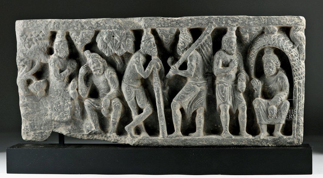 Gandharan Schist Relief Panel - Figural Scene