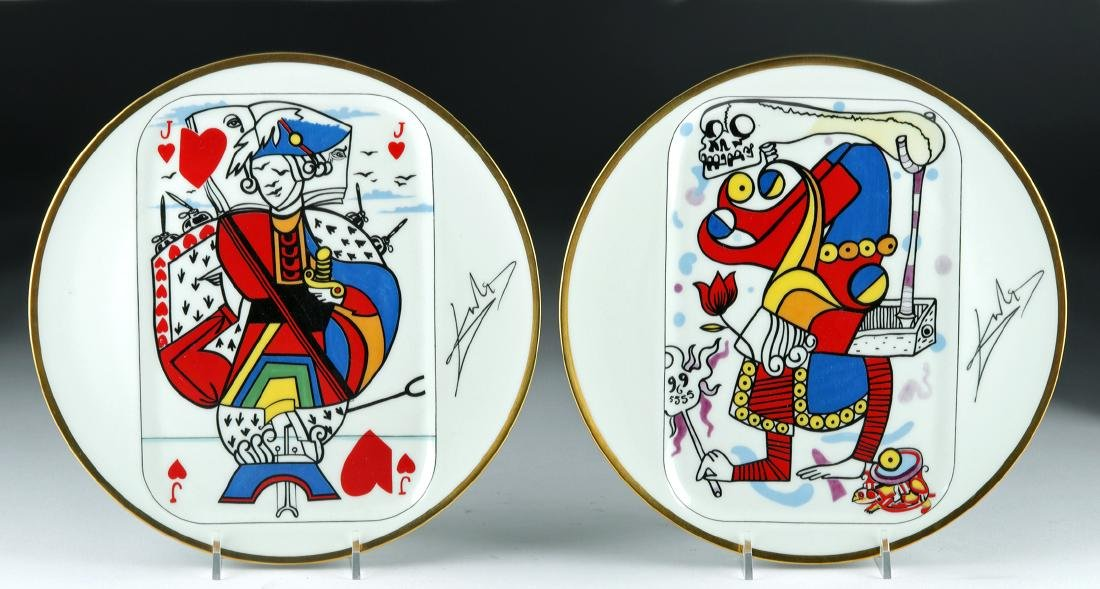 Signed Dali Puiforcat Playing Card Plates, 1967