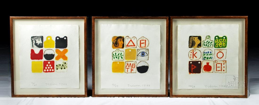 Triptych of Framed / Signed Joe Tilson Etchings, 1982