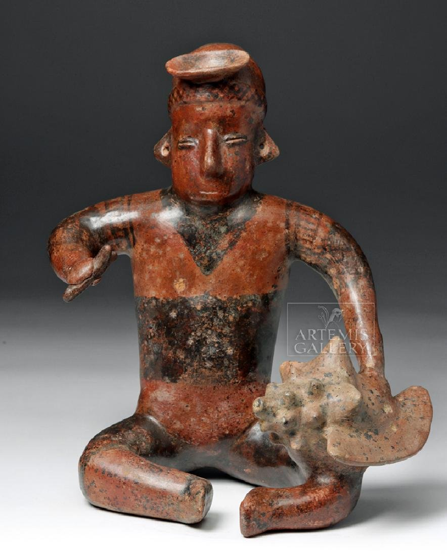 Colima Seated Musician w/ Conch Shell Instrument