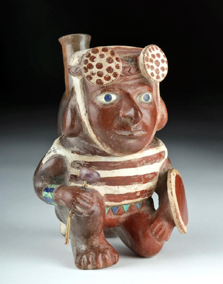 Masterpiece Moche Pottery Warrior w/ 14K Gold & Lapis