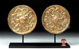 Moche Gilded Copper Ear Spools - Chasquis