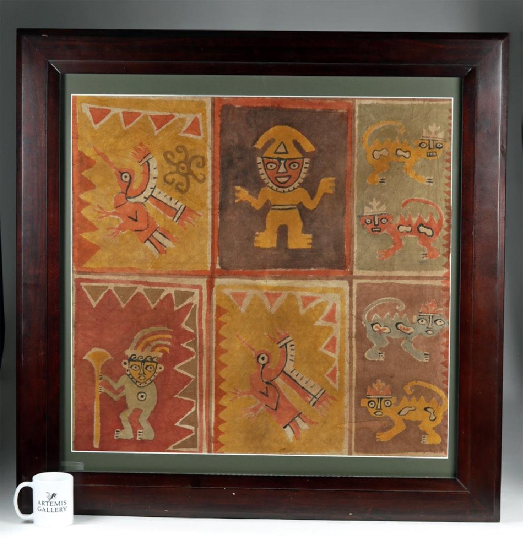 Framed Chancay Painted Textile - Masterpiece!