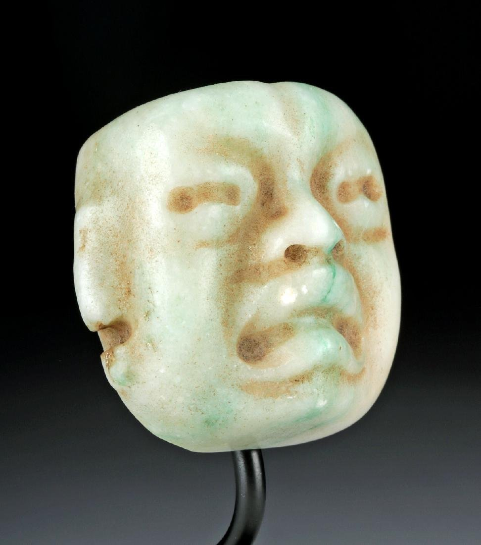Superb Olmec Carved Jade Maskette