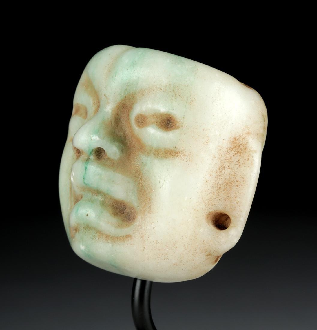 Superb Olmec Carved Jade Maskette - 2