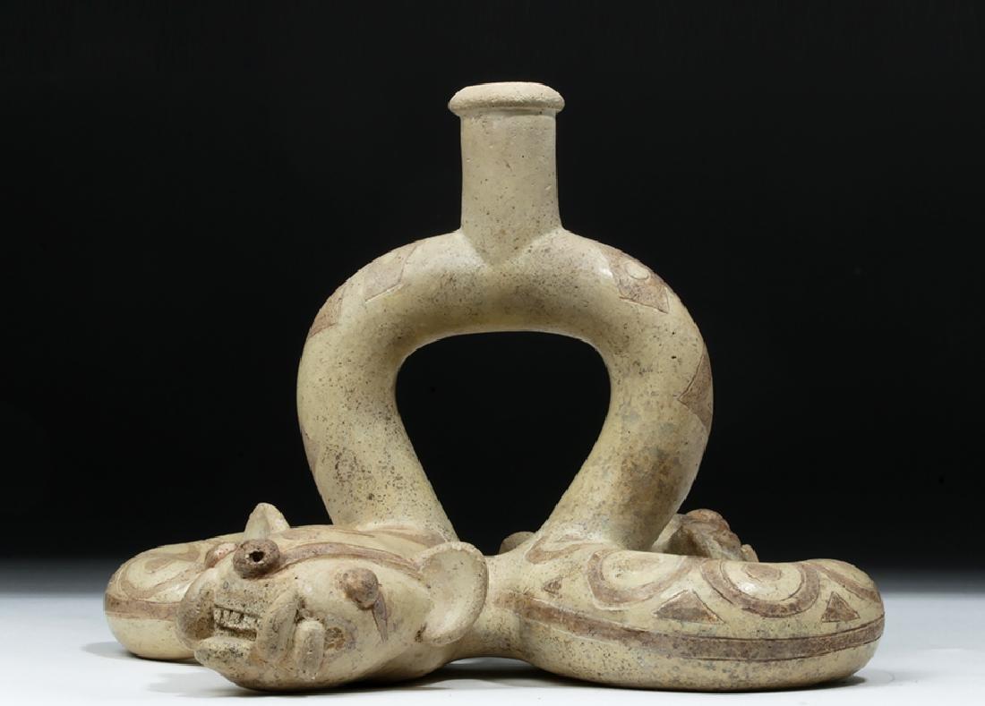 Moche I Pottery Double Snake Stirrup - TL Tested - 2